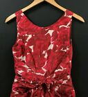 Kate Spade Womens Red Rose Print Silk Satin Bow Dress A Line Sleeveless sz 0