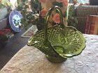 Fenton Glass Diamond and Fruit Pattern Green Basket With Handle