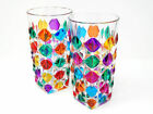 Hand Painted Italian Crystal Puzzle Tall Drink Glass Set of 2
