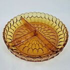 Fenton Colonial Amber 85 Thumbprint 3 Part Relish Dish Vintage 1960s 1970s