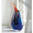 Hand Crafted Swirling Colors Art Glass Vase Sculpture Home Decor Accent display