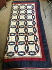 Vintage Handmade Double Wedding Ring Quilt 96x90