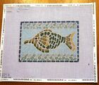 FANCY BLUE GREEN FISH MELISSA SHIRLEY HANDPAINTED NEEDLEPOINT CANVAS