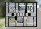 Modern Geometric Contemporary Beveled Stained Glass Window Panel Ready to Hang
