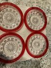 BEAUTIFUL VINTAGE RUBY RED CUT TO CLEAR CRYSTAL SALAD DESSERT PLATES 7 1 2
