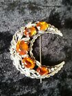 Superb Antique Silver Crescent Moon And Amber Cut Glass Cabochon Brooch C1900