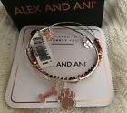 Alex and Ani DOG BONE AND PAW SET OF 2 Love Bangles Shiny Silver New Tags Box