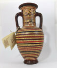 Minoan Pottery Amfora Vase Handmade  Hand Painted In Greece Geometric NWT