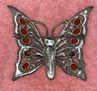 Antique Huge Amber Glass Rhinestone Butterfly Brooch Excellent No Missing Stones