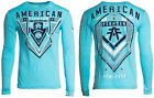 American Fighter Mens L/S T Shirt MAXVILLE Athletic SKY BLUE Biker XS 3XL $44