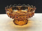 VINTAGE FENTON HAND MADE AMBER HOBNAIL GLASS FOOTED CENTERPIECE CANDLE BOWL