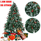 USA 6FT Christmas Tree Snow Flocked Hinged Artificial With Light and Metal Stand