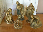 5 Large Vtg Atlantic Mold Ceramic Nativity Figurines Wise Men Mary Baby Jesus