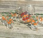 Vintage Tipped Juice Pitcher and Glasses Oranges Tomatoes 6 Piece Set Glass
