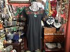 Very Pretty Mexican Black Dress Vintage 1970 Or 80s Embroidered Size M L