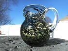 Vintage Hand Blown Leopard Print Glass Pitcher Green  Black Tortoiseshell