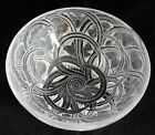 Signed LALIQUE Frosted Crystal Glass 925 PINSONS FINCHES Sparrow Bird Bowl