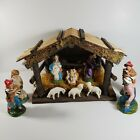 Vintage Christmas Nativity Manger Stable Set Figurines Made In Italy Figures