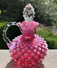 Fenton Cranberry Hobnail Opalescent Cruet with Stopper Exc Condition