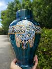 19th Century Bohemian Cobalt Ribbed Enameled Glass Vase Harrach Moser
