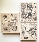 3 Collage Rubber Stamps  Stamp Out Cute  Travel Time Women Feminine Clock