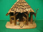 Vintage Anri Kuolt Wooden Nativity Creche Stable with Mary Joseph  Baby Jesus