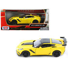 2019 Chevrolet Corvette ZR1 Yellow with Black Accents 1 24 Diecast Model Car by