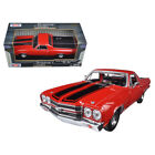 1970 Chevrolet El Camino SS 396 Red with Black Stripes 1 24 Diecast Model Car by