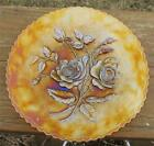 IMPERIAL OPEN ROSE AMBER CARNIVAL GLASS FLATE 9 PLATE