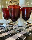 4 Vintage Ruby Red Water or Wine Glass Goblet With Clear Twisted Stem 8oz