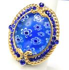 Large Blue Glass Millefiori Sterling Silver  Gold Overlay Ring Size 75