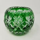 Vintage Czech Bohemia Emerald Green Cut To Clear Crystal Votive Holder 4