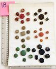 18 Lot of 42 Vintage Glass Button Gold Luster Accent Red Orange Green Sets Card
