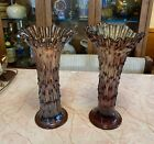 Pair Fenton Amethyst Swung Glass April Showers Vases