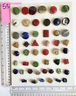 53 Lot of 60 Glass Modern Art Deco Vintage Buttons 30s 40s 50s 60s Mixed