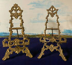 2 VINTAGE ORNATE BRASS METAL TABLE EASEL PICTURE DISPLAY STAND