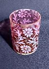 Vintage Victorian OPALESCENT RED Glass Tumbler Daisy and Fern 3 3 4