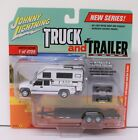Johnny Lightning 2002 Chevy Silverado with Camper and Car Trailer 1 64