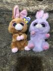 2 TY Beanie Boos Easter Bunny Rabbit Plush Toys Purple PETUNIA Brown HOPSON 6''