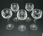 5 Bohemian Czech Clear Cut Crystal Wine Water Goblets  EXCELLENT CONDITION