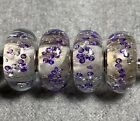 Super Rare Retired Elfbeads Purple Monroe With Glitter Lot Of 4 HTF