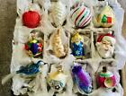 12 Vintage Glass Christmas Ornaments Old World