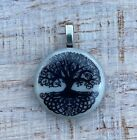 Tree of Life Black and White Fused Dichroic Art Glass Jewelry Pendant