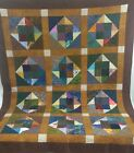 Patchwork Quilt Hand Made Browns Squares Triangles 50 x 64