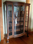 Antique Mission Oak China Cabinet Curved Bow Front Door Beveled Side Glass