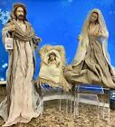 Large Holy Family Christmas Nativity Set 3 Pieces Fabric  Resin Joseph Mary