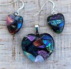 Multi Color Heart Fused Dichroic Art Glass Jewelry Matching Earrings Pendant Set