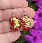 Red with Gold Overlapping Dragonfly Pattern Fused Dichroic Glass Dangle Earrings