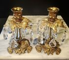 Pair Vtg Hollywood Regency Ornate Brass Glass Candlestick Holders Crystal Prisms