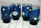 Vintage Libbey Glass Tumblers Daisy Flowers Blue White Set of 4 Mid Century